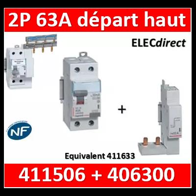 LEGRAND - Interrupteur différentiel dx³-id - vis/vis - 2p- 230v~-63a - type ac - 30ma - départ haut - 411506+406300