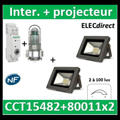 Schneider - Acti9 IC 100 - interrupteur crépusculaire - 2..100 lux + projecteur 10W 6000K° - CCT15482+80011x2