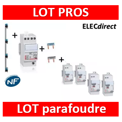Legrand - Parafoudre 2P 220V - Type 2 + 3 Diff. 63A AC + 1 Diff. 63A A + Peignes V 4R + Peignes Ph+N 2M