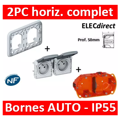 Legrand Plexo - Double PC - complet - horizontal - IP55/IK07 - 069683+069562+080122