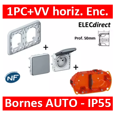 Legrand Plexo - PC + VV - complet - horizontal - IP55/IK07 - 069683+069551+069511+080122