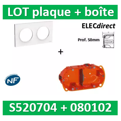 Schneider Odace - Plaque 2 postes + Boîte Batibox Legrand 2 postes - Hor/vert  - prof 50 - s520704+080122