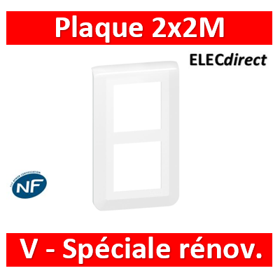 Legrand Mosaic - Plaque 2 x 2 modules - 2 postes (4M) - pour rénovation - en. 57mm - vertical - 078854L