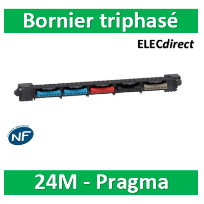 Schneider - borniers pour coffret triphasé 24 modules - 2xbleu 1xrouge 1xnoir 1xgris - R9H24315