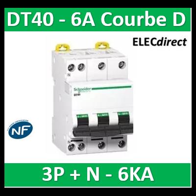 Schneider - DT40 - Disjoncteur 3P+N - 6A - 6kA - courbe D - A9N21073