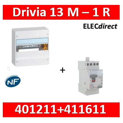 Legrand - LOT PROS - Coffret DRIVIA 13 Modules + différentiel 40A AC 30mA - 401211+411611