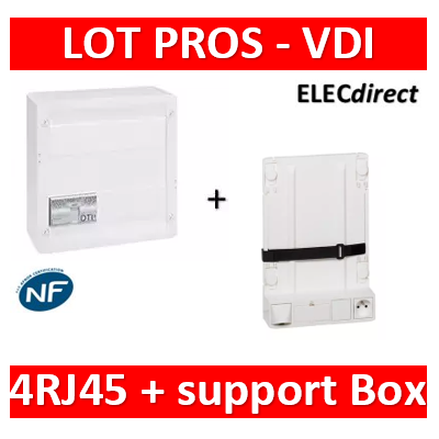 Legrand - Coffret VDI GRADE 2 - 4 RJ45 - TV 2 sorties + support BOX Legrand - 413248+413149