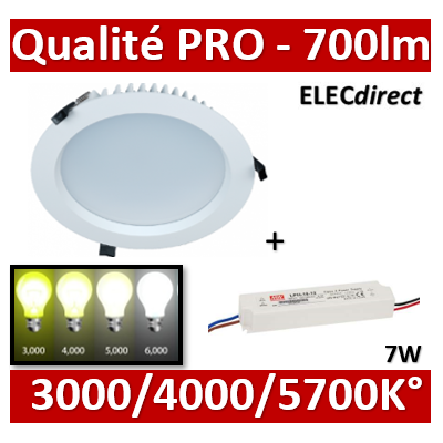 Lited - Downlight LED 7W 3000k/4000K/5700K avec driver - 700lm - TERTIA7