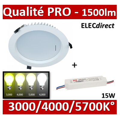 Lited - Downlight LED 13W 3000k/4000K/5700K avec driver - 1500lm - TERTIA15+LT-DR15