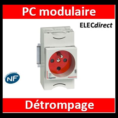 Legrand - Prise de courant modulaire 10A à 16A 250V~ - 2P+T à éclips et à détrompage - 2,5M - 004282