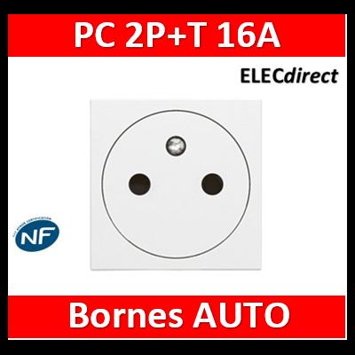 Legrand Prise de courant 2P+T Surface Mosaic 2 modules avec connexion par bornes automatiques - blanc 077111L