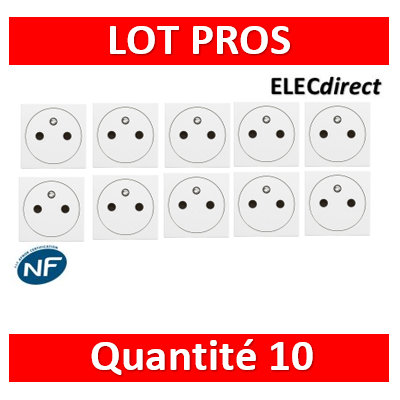 Legrand Mosaic - LOT PROS - Prise de courant 2P+T 16A - Affleurant - 230V - 077111Lx10