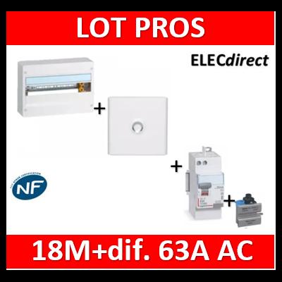 Legrand - LOT PROS - Coffret DRIVIA 18M + dif 63A AC 30mA + porte - 401221+401231+411650+405209