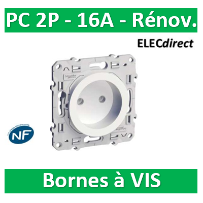 Schneider Odace - Prise de courant connexion à VIS - 2P 16A - 250V - S520033