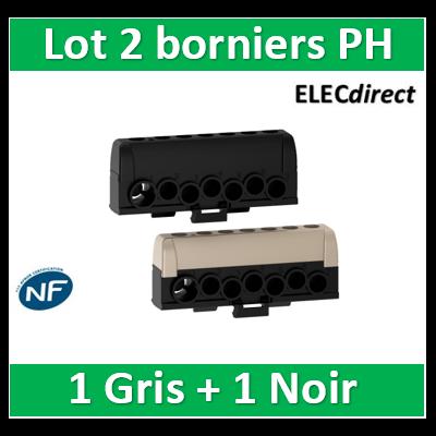 Schneider - Resi9 - lot de 2 borniers phase - 1 x gris 1 x noir - 6 trous 16² - 1 trou 35² - R9H13411P
