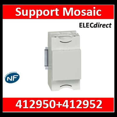 Legrand - Support universel modulaire pour montage appareillage Mosaic 2 modules sur rail plein - 412950+412952