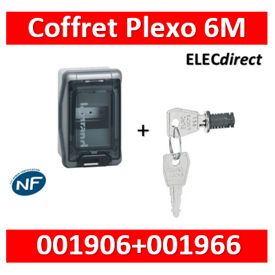 Legrand - Coffret étanche Plexo 6 modules - IP65/IK09 + serrure - 001906+001966