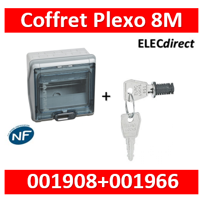 Legrand - Coffret étanche Plexo 8 modules - IP65/IK09 + serrure - 001908+001966