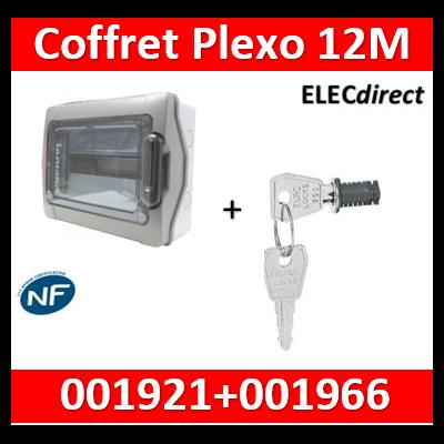 Legrand - Coffret étanche Plexo 12 modules - 1 rangée - IP65/IK09 + serrure - 001921+001966