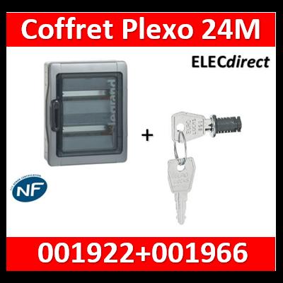 Legrand - Coffret étanche Plexo 24 modules - 2 rangées - IP65/IK09 + serrure - 001922+001966