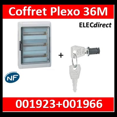 Legrand - Coffret étanche Plexo 36 modules - 3 rangées - IP65/IK09 + serrure - 001923+001966