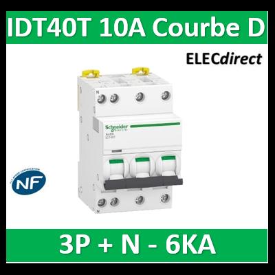 Schneider - Acti9 IDT40T - disjoncteur modulaire - 3p+n - 10A - courbe D - 4500A/6KA - A9P32710