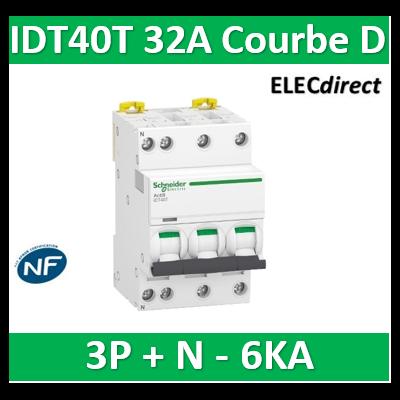 Schneider - Acti9 IDT40T - disjoncteur modulaire - 3p+n - 32A - courbe D - 4500A/6KA - A9P32732