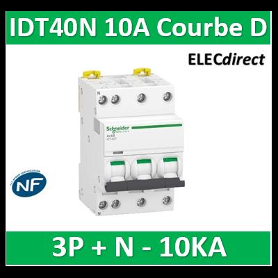 Schneider - Acti9 IDT40N - disjoncteur modulaire - 3p+n D 10A 6000A/10KA - A9P34710