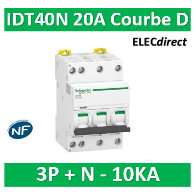 Schneider - Acti9 IDT40N - disjoncteur modulaire - 3p+n D 20A 6000A/10KA - A9P34720