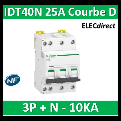 Schneider - Acti9 IDT40N - disjoncteur modulaire - 3p+n D 25A 6000A/10KA - A9P34725