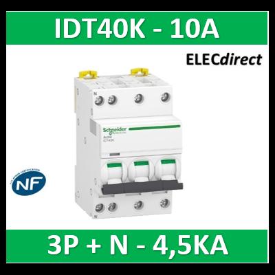 Schneider - Acti9 IDT40K - disjoncteur modulaire - 3p+n - 10A - courbe C - 4500A/4,5KA - A9P71710
