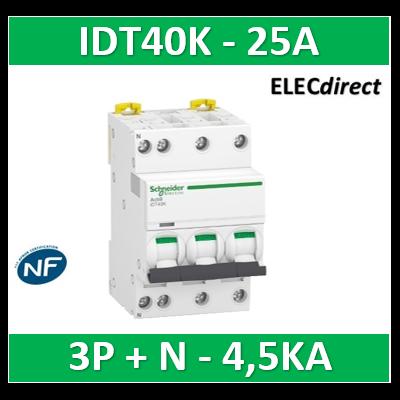 Schneider - Acti9 IDT40K - disjoncteur modulaire - 3p+n - 25A - courbe C - 4500A/4,5KA - A9P71725