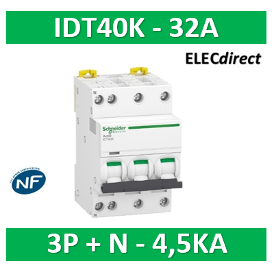 Schneider - Acti9 IDT40K - disjoncteur modulaire - 3p+n - 32A - courbe C - 4500A/4,5KA - A9P71732