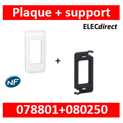 Legrand Mosaic - Plaque 1 module - 1 poste + support - 078801+080250