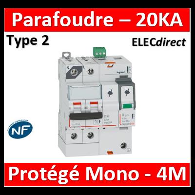 Legrand - Parafoudre T2, protégé - Imax 20 kA/pôle- 1P+N 320V - 4 mod - 412210