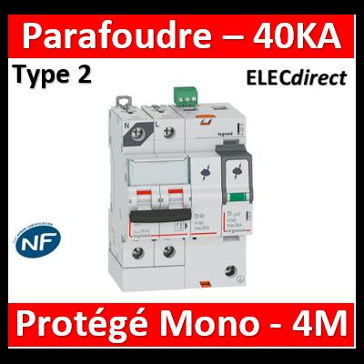 Legrand - Parafoudre T2, protégé - Imax 40 kA/pôle- 1P+N 320V - 4 mod - 412214
