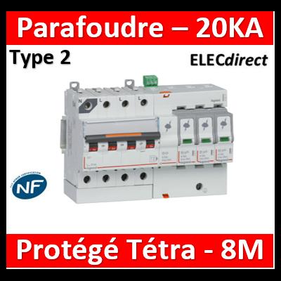Legrand - Parafoudre basse tension T2, protégé - Imax 20 kA/pôle- 3P+N 320V - 8 mod - 412211