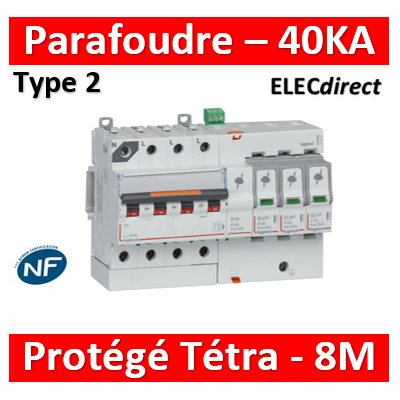 Legrand - Parafoudre basse tension T2, protégé - Imax 40 kA/pôle- 3P+N 320V - 8 mod - 412215