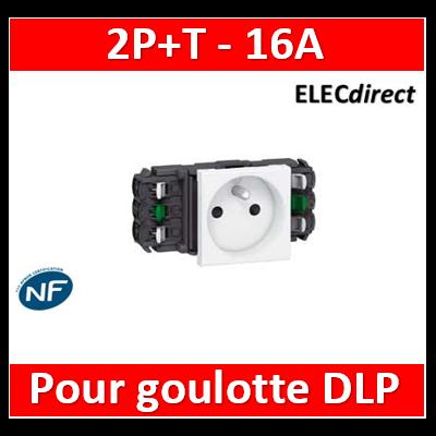 Legrand - Prise de courant 2P+T Mosaic 2 modules pour goulottes DLP monobloc - blanc - 077301