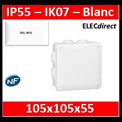 Legrand - Boîte de dérivation étanche IP55 - 105x105x55 - Blanc - IP55/IK07 - 092023