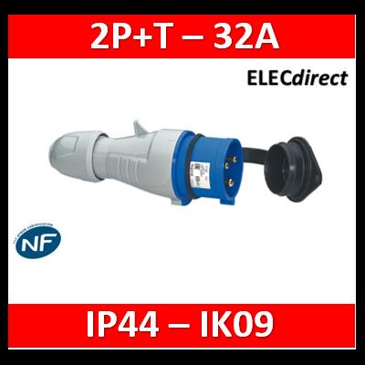 Legrand - Fiche mobile droite P17 IP44 32A - 200V~ à 250V~ - 2P+T - 555234