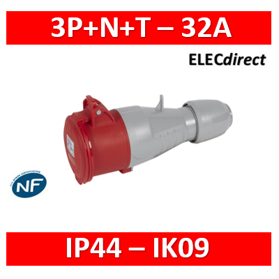 Legrand - Prise mobile P17 IP44 32A - 380V~ à 415V~ - 3P+N+T - 555219