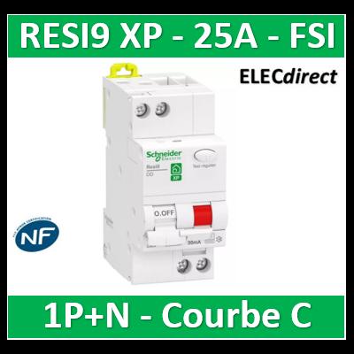 Schneider - Resi9 XP - disjoncteur différentiel - 1P+N - 25A - 30mA - courbe C - type Fsi - R9PDCF25