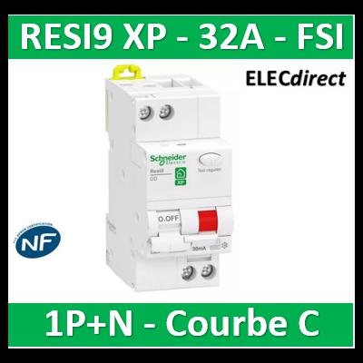 Schneider - Resi9 XP - disjoncteur différentiel - 1P+N - 32A - 30mA - courbe C - type Fsi - R9PDCF32