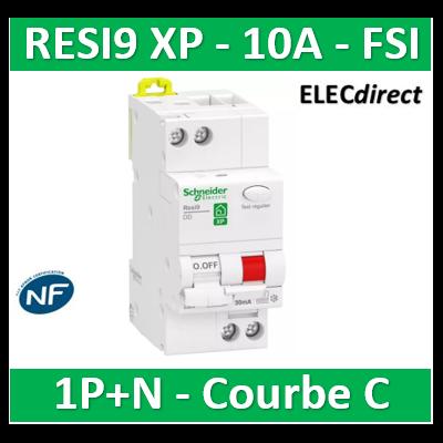 Schneider - Resi9 XP - disjoncteur différentiel - 1P+N - 10A - 30mA - courbe C - type Fsi - R9PDCF10