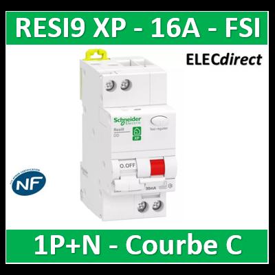 Schneider - Resi9 XP - disjoncteur différentiel - 1P+N - 16A - 30mA - courbe C - type Fsi - R9PDCF16