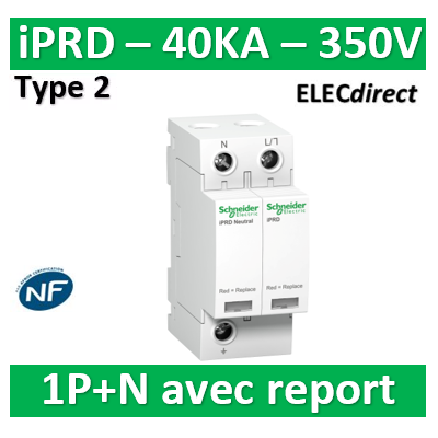 Schneider - Acti9, iPRD 40r parafoudre 1PN, 40kA 350V, avec report signalisation - A9L40501