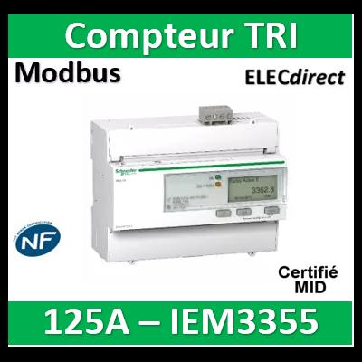 Schneider - Acti9 iEM - compteur d'énergie tri - 125A - multitarif - alarmekW - Modbus - MID - A9MEM3355