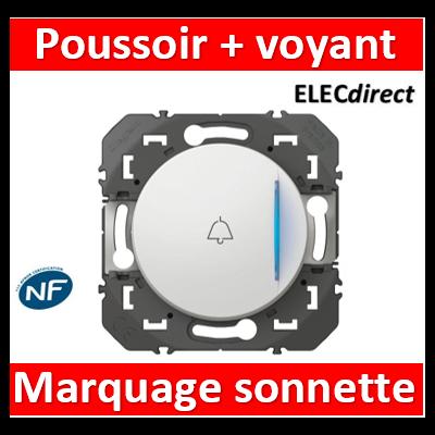 Legrand - Poussoir simple avec voyant lumineux et marquage sonnette dooxie 6A 250V~ finition blanc - 600018