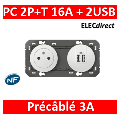 Legrand - Prise de courant 2P+T Surface + chargeur 2 USB Type-A dooxie 3A précâblés finition blanc - 600342